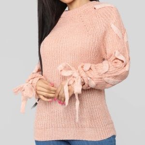 Lace up sleeves sweater Size Small
